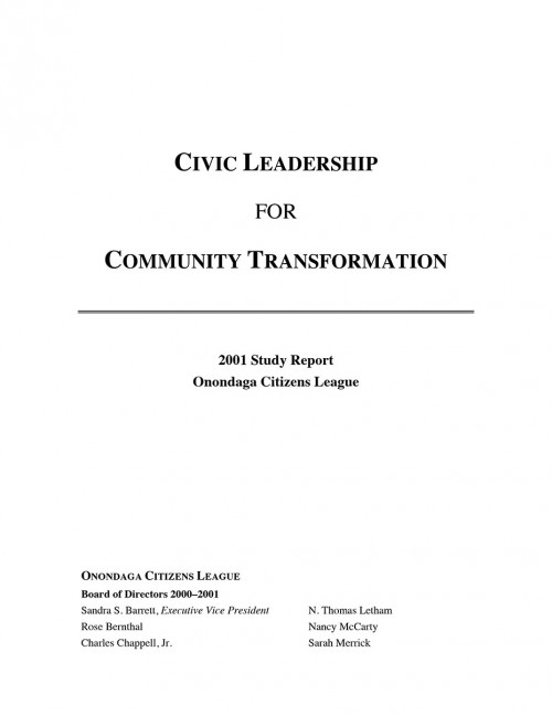 Civic Leadership and Community Transformation