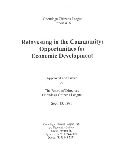 Reinvesting In the Community: Opportunities for Economic Development